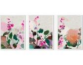 Wild Flowers, lot de 3 illustrations encadrées, par Ana Rut Bre, format A2