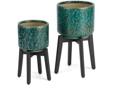 Constan, lot de 2 piédestaux pour plantes en grès réactif avec pieds en bois, bleu