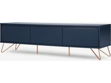 Elona, grand meuble TV, bleu foncé et cuivre