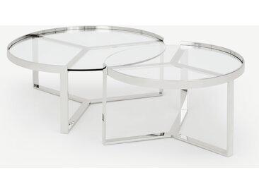 Aula, tables basses gigognes, chrome et verre