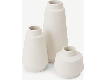 Hoa, lot de 3 vases en céramique, blanc mat