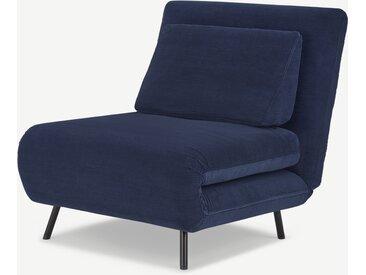 Kahlo, fauteuil convertible, velours côtelé bleu marine