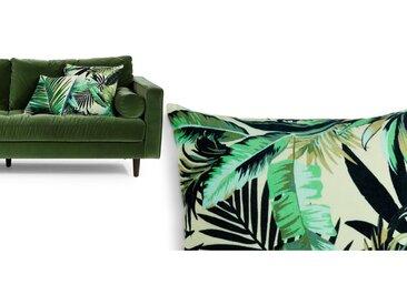Jangala, coussin en velours 50 x 50 cm, feuilles vertes
