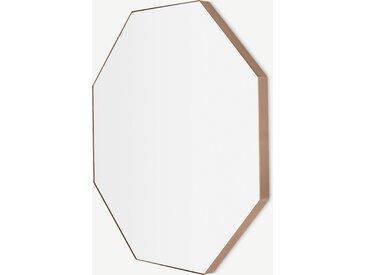 Arles, miroir octagonal, 80 x 80 cm, métal fini or rose brossé