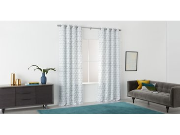 Inga, paire de rideaux à œillets 140 x 260 cm, blanc et vert