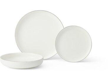 Taryn, service de 12 pièces en porcelaine, blanc et argenté
