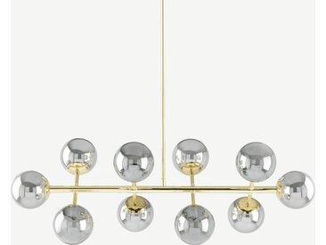 Globe, grand lustre 10 ampoules, laiton et verre fumé