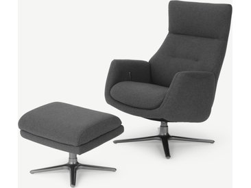 Paxton, fauteuil inclinable et repose-pieds, gris marne