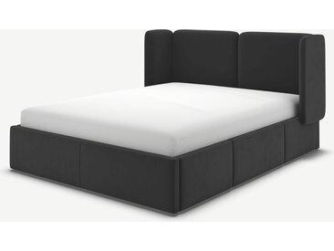 Ricola, lit à tiroirs super king size (180 x 200) avec sommier, velours de coton gris cendré