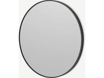 Parton, miroir mural rond 60 x 60 cm, noir mat