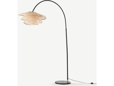 Weaver, lampadaire arqué, métal noir et bambou naturel