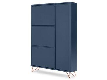 Elona, armoire à chaussures, bleu foncé et cuivre