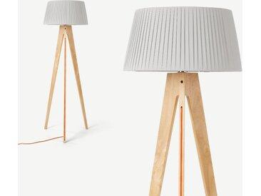 Miller, lampadaire tripode, gris, orange et pieds en bois naturel