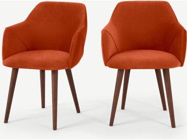 Lule, lot de 2 chaises à accoudoirs, velours orange flamme et noyer