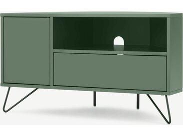 Elona, meuble TV d'angle, vert fougère et métal noir