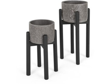 Hakuun, lot de 2 cache-pots en terrazzo sur pied en hévéa, gris et noir