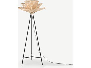 Weaver, lampadaire tripode, bambou naturel