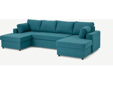 Aidian, grand canapé d'angle convertible avec compartiment de rangement, bleu minéral