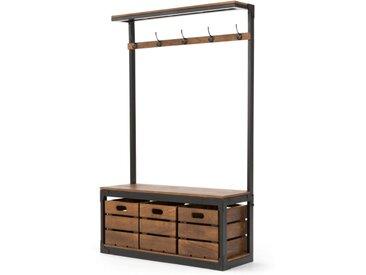 Layne, grand meuble d'entrée, bois de manguier et acier noir