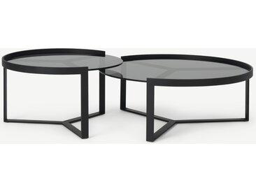 Aula, tables basses gigognes, métal noir et verre teinté gris