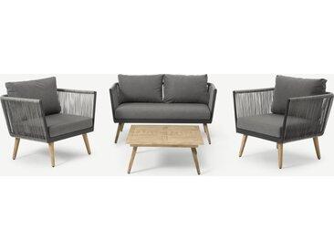Ensemble canapé 2 fauteuils et table basse d'extérieur en résine tressé, bois clair et tissu gris