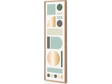 Tom Pigeon, 'Banner', illustration en couleurs et cadre en chêne 30 x 100 cm