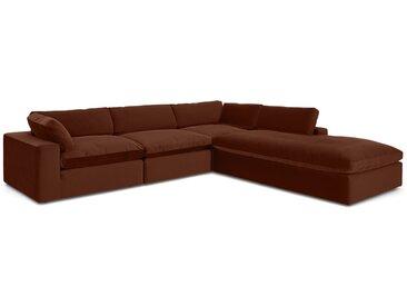 Samona, grand canapé d'angle avec méridienne à droite, velours ambre