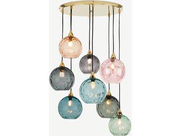 Ilaria, très grande suspension multiple 8 ampoules, verre teinté muticolore et laiton