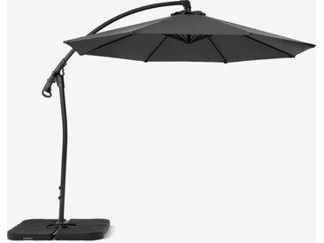 Parasol déporté rotatif, 3 m, acier thermolaqué gris et toile grise