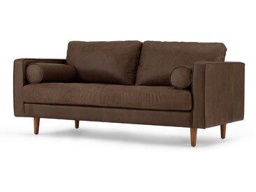 Scott, grand canapé 2 places, cuir premium moka Charm