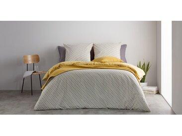 Prism linge de lit 100% coton, king size (240 x 220), gris et jaune moutarde
