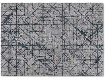 Moers, grand tapis aux lignes abstraites 160 x 230 cm, argenté et bleu de minuit