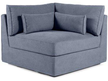Trent, module d'assise d'angle déhoussable en coton délavé, bleu