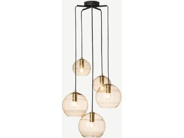 Mika, lustre 5 ampoules en métal gris, verre teinté champagne et laiton
