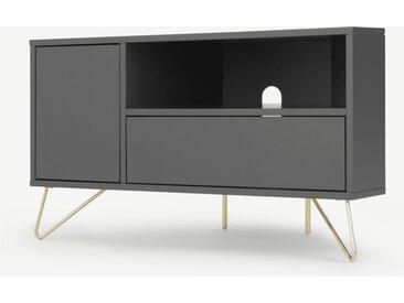 Elona, meuble TV d'angle, gris anthracite et laiton