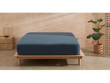 Sena, linge de lit double (200 x 200) en coton bio, bleu indigo