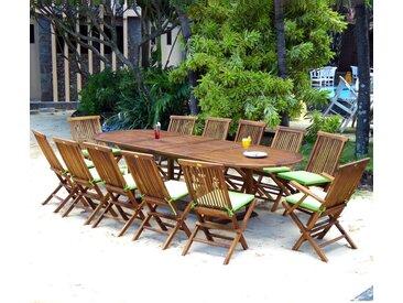 ensemble de jardin table 200-300 cm 12 places teck huilé