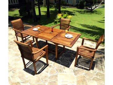 salon de jardin table rectangle avec 4 fauteuils empilables