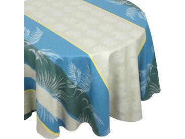 Nappe ovale 170x240 cm PALMIER bleu lagon Jacquard 100% coton + enduction acrylique