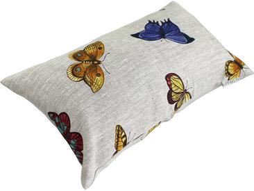 Housse de coussin 30x50 cm GALLICO Papillons bleus jaunes et rouges 100% Lin