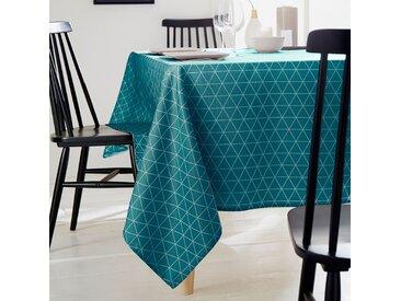 Nappe ronde 180 cm imprimée 100% polyester PACO géométrique bleu curacao