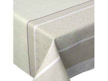Nappe carrée 150x150 cm Jacquard 100% coton + enduction acrylique EDEN FICELLE Ecru