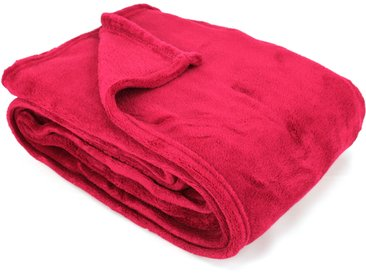Plaid polaire 130x170 cm Microfibre 280 g/m2 APOLLO Rouge Framboise