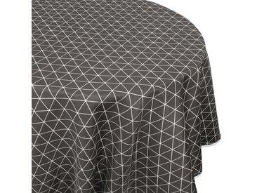 Nappe ronde 180 cm imprimée 100% polyester PACO géométrique gris Poivre