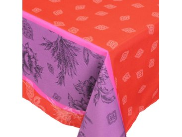 Nappe rectangle 150x350 cm imprimée 100% polyester GARRIGUE Florale rouge Carmin