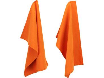 Lot de 2 torchons de cuisine 50x70 cm toile PURE KITCHEN TEA TOWEL Orange