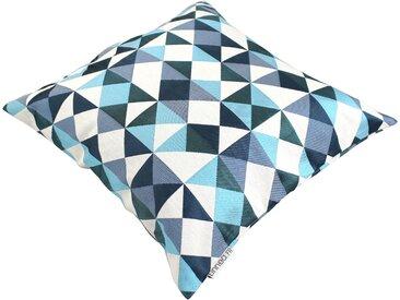Housse de coussin 45x45 cm ANZO Eclats bleus et blancs Polycoton