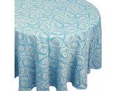 Nappe ovale 180x240 cm Jacquard 100% coton SPIRALE bleu turquoise