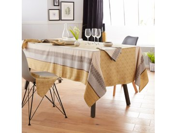 Nappe carrée 170x170 cm Jacquard 100% coton + enduction acrylique CHARLESTON jaune Moutarde