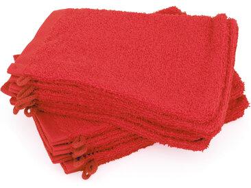 Lot de 12 gants de toilette 16x21 cm ALPHA rouge